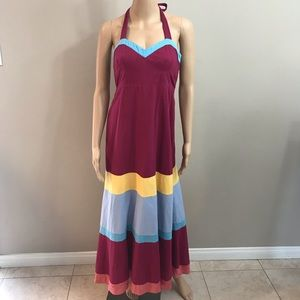 Maeve maxi halter dress multicolor sz 4